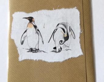 Handmade Double Penguin blank greetings card.