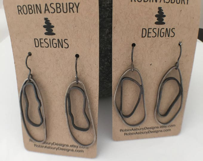 sterling silver oxidized oval ring earrings