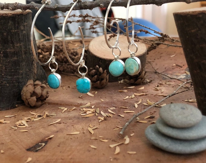 Sterling silver hoops earrings with turquoise