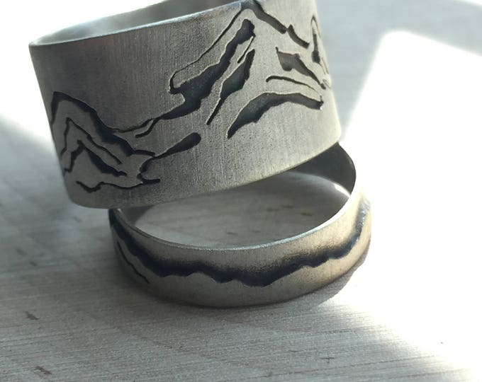 Custom Sterling Silver mountain rings