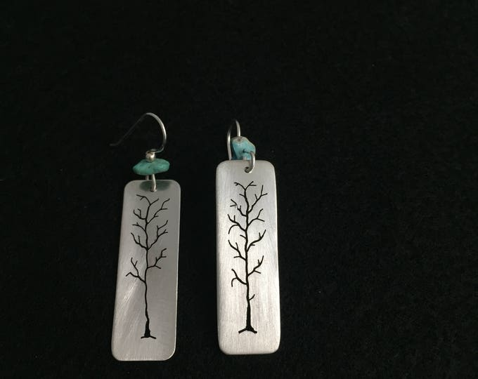 sterling silver hand pierced long rectangle tree earrings