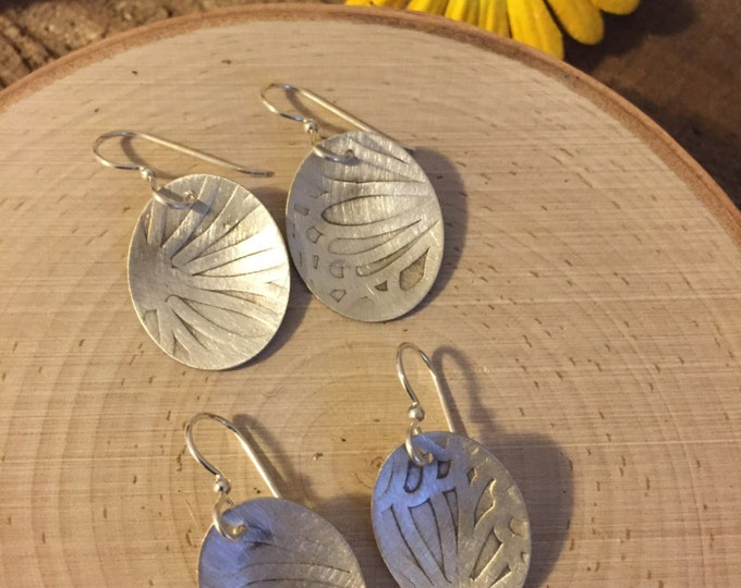 Sterling silver ovals with petal pattern