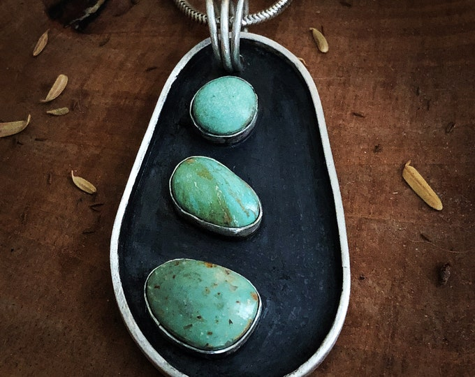 Triple Turquoise sterling Silver Oxidized Pendant