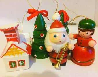 Vintage wooden Christmas tree decorations / vintage christmas tree ornaments / vintage 1960s hand painted christmas decorations