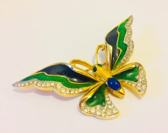 Vintage butterfly brooch - vintage insect brooch - gold rhinestone brooch - butterfly lover gifts - butterfly gifts - butterfly jewellery