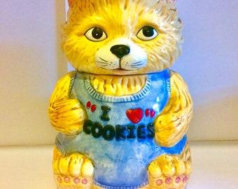 Novelty vintage cat cookie jar - ginger cat i love cookies ceramic cookie jar - vintage cookie jar - animal cookie jar - cat lover gift -