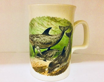 Vintage dolphin mug - dolphin mug - vintage dolphin - vintage mug - dolphin lover gift - vintage animal mug - ceramic dolphin coffee cup