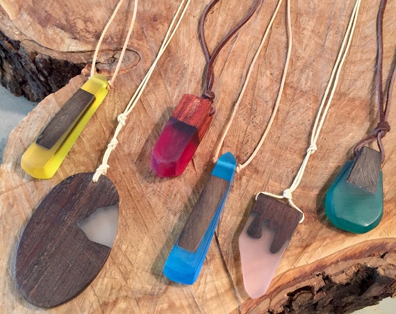 "The ""Andaz"" 36"" Wood and Resin Pendent necklace with your choice of cordage."