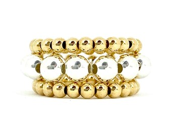 Triple Stranded 14k Gold Filled beaded rings with Sterling Silver beaded center