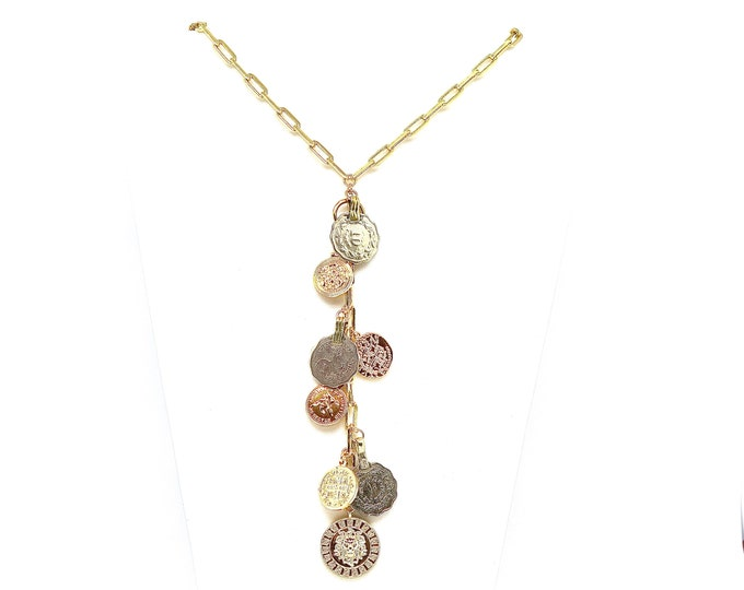 "Featured listing image: The ""Fiona"" 17"" 18k gold filled large link lariat accented with new and vintage multicultural coins"