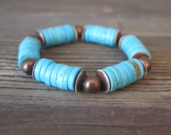 12mm Turquoise heishi beaded bracelet with vintage copper findings