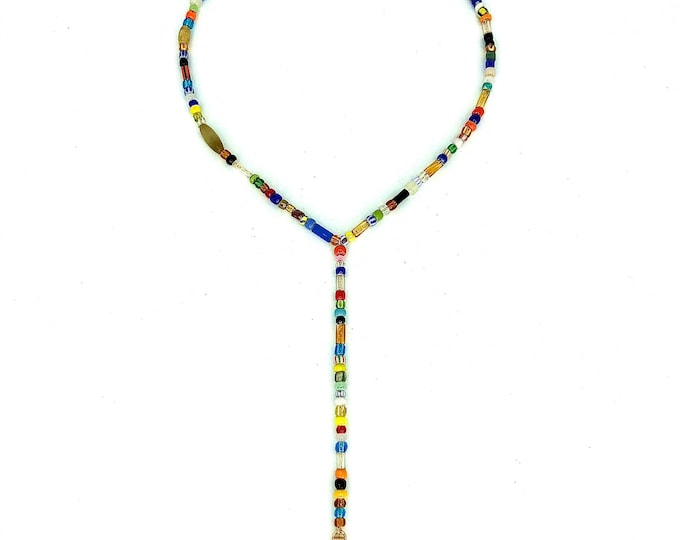 "16"" handmade African glass beaded lariat on 14k gold filled chain"