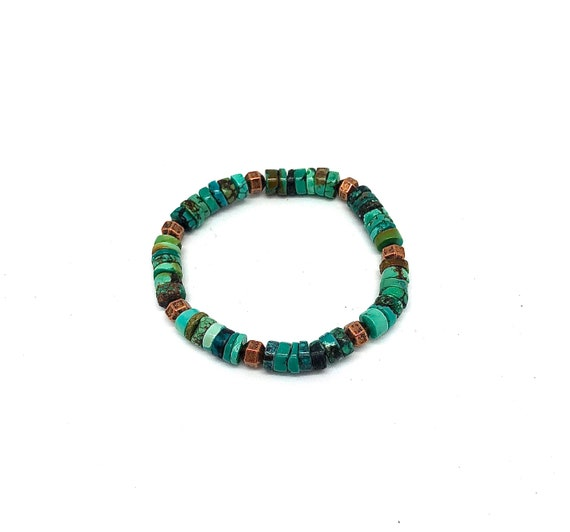 Hand beaded Turquoise and vintage copper bracelet
