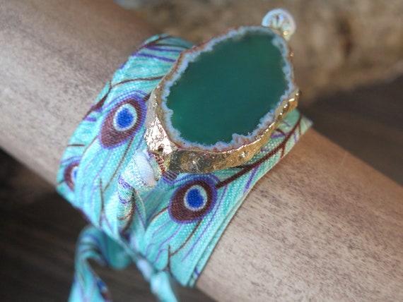 """40"""" Natural Geode wrap bracelet"""