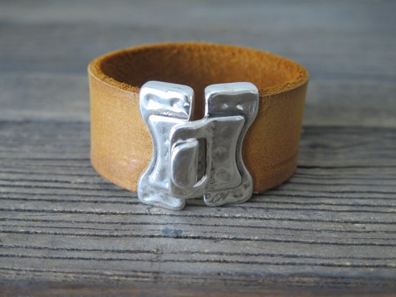 "7 3/4"" 30mm Whiskey Leather Cuff with silver plated clasp"