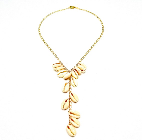 """The """"Kapalua"""" 14k gold filled 18"""" lariat accented with Cowrie shells"""