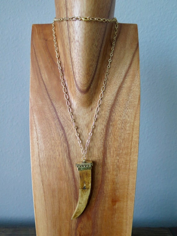 "30"" hand made Ox bone horn necklace on matte gold tone chain"