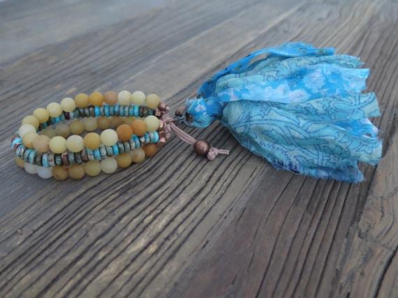 8mm triple beaded matte Jade and Imperial Jasper Shambahla bracelet with Sari silk tassel