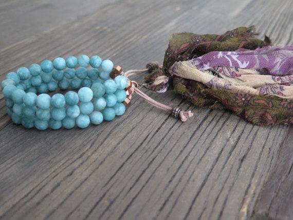 Triple hand beaded 8mm matte new green Jade Shambahla bracelet with Sari Silk tassel