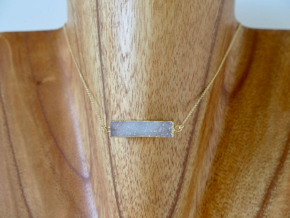 "The ""River"" 15"" 14k gold filled Druzy pendent necklace"