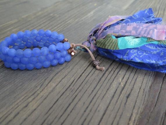 Triple hand beaded 8mm matte royal blue Jade Shambahla bracelet with Sari Silk tassel