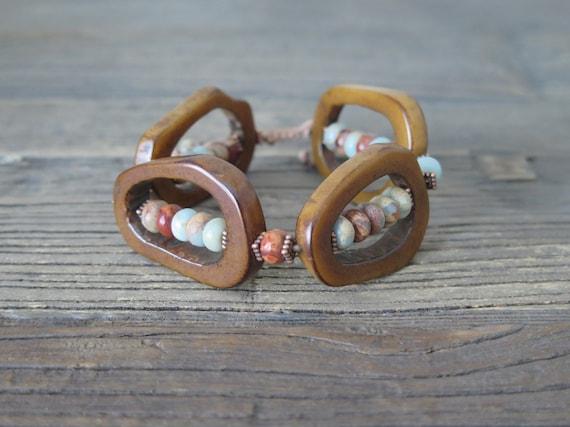 "7 1/2"" hand beaded African Opal and Ox bone Shambahla bracelet"
