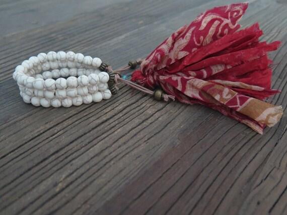 Triple hand beaded 8mm matte natural howlite Shambahla bracelet with repurposed Sari Silk tassel