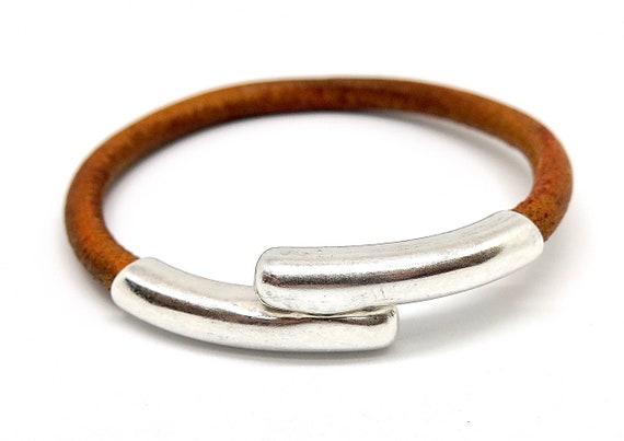 "7 1/2"" European Burnt Brown leather bracelet"