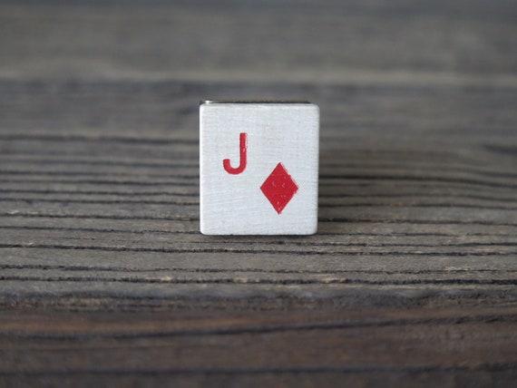 Vintage 80's tile adjustable Jack of Diamonds ring