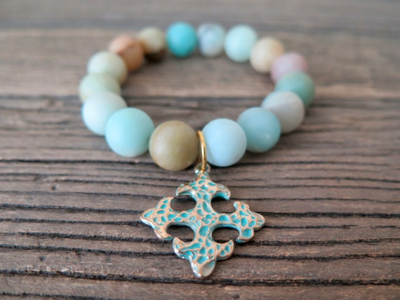 12mm hand beaded matte Amazonite bracelet with patinaed relic charm