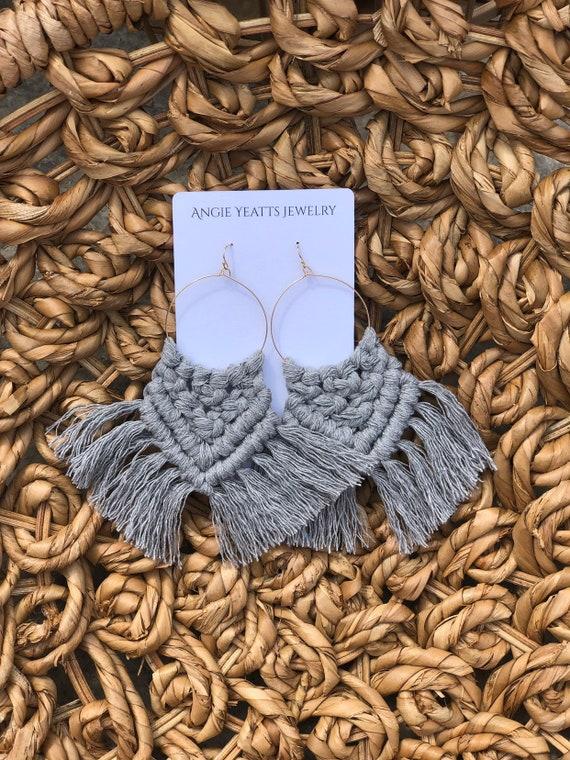 Handmade Macrame statement earrings