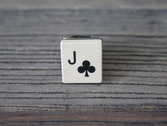 Vintage 80's tile adjustable ring Jack of Clubs
