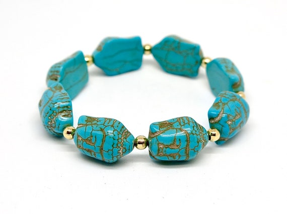 Handmade Turquoise Buddha bracelet accented with 14k gold filled beads