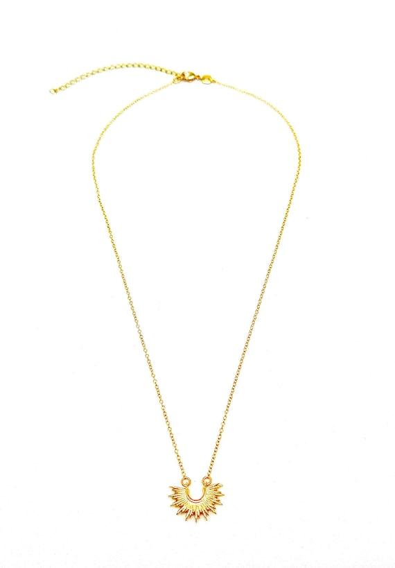 "The ""Aine"" 14k 18"" Gold filled crescent sunburst charm necklace."
