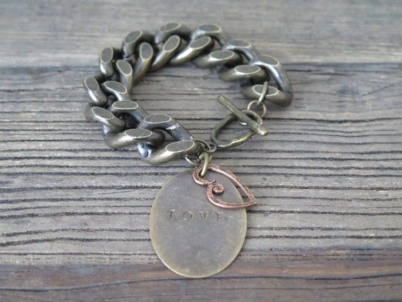 "7 1/2"" large link antique bronze bracelet with hand stamped ""Love"" charm"