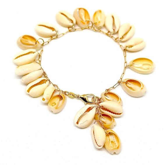 """Handmade 14k gold filled 7 1/2"""" Cowrie shell lariat bracelet"""