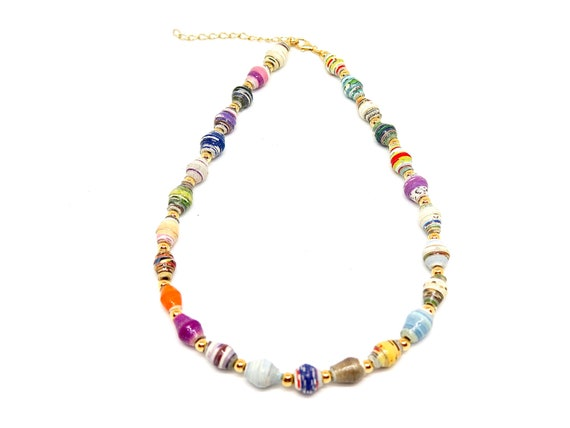 """The """"Bay"""" 14"""" 14k gold filled choker accented with recycled paper beads."""