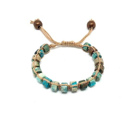 Hand beaded Jasper Shambhala bracelet