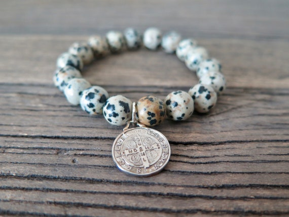 10mm hand beaded Dalmation Jasper with silver plated religious Relic