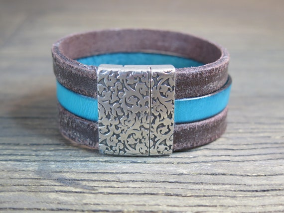 Triple Leather Cuff Bracelet with Damask Closure