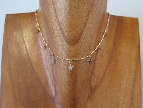 "The ""Lola"" 14""  14k gold filled star choker"