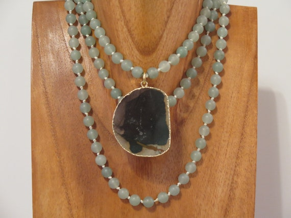 "The ""Ivy"" 50"" hand knotted 8mm matte Aventurine necklace accented with an Natural Agate pendent."