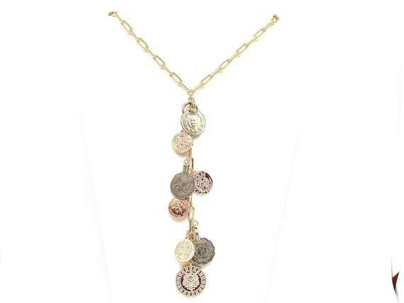 """The """"Fiona"""" 17"""" 18k gold filled large link lariat accented with new and vintage multicultural coins"""