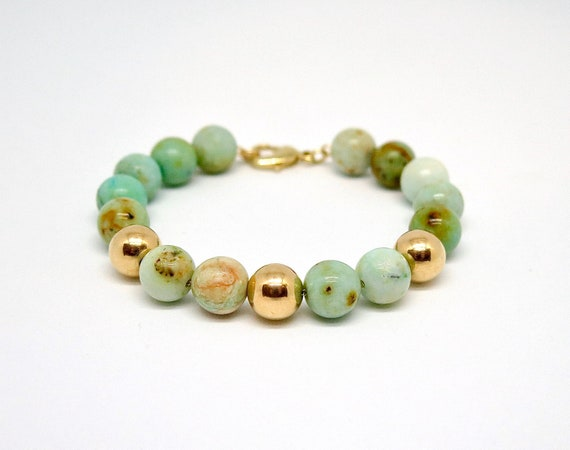 """7 1/2"""" hand made 10mm Mongolian Turquoise  and 14k gold filled bead bracelet"""