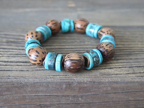 Hand beaded 15mm Palm Wood and rare Turquoise heishi bracelet