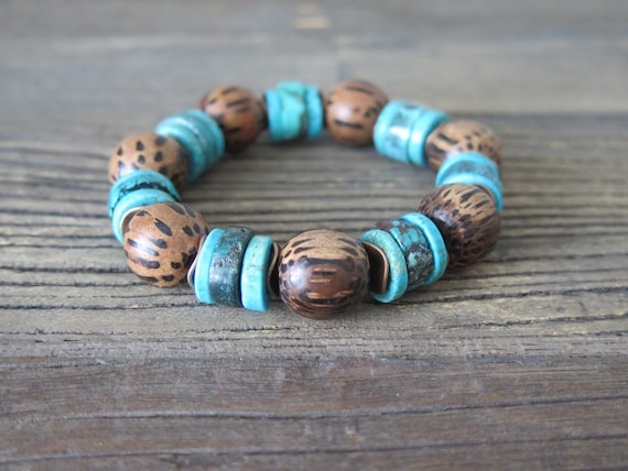 Hand beaded 15mm Palm Wood and rare Turquoise heishi bracelet
