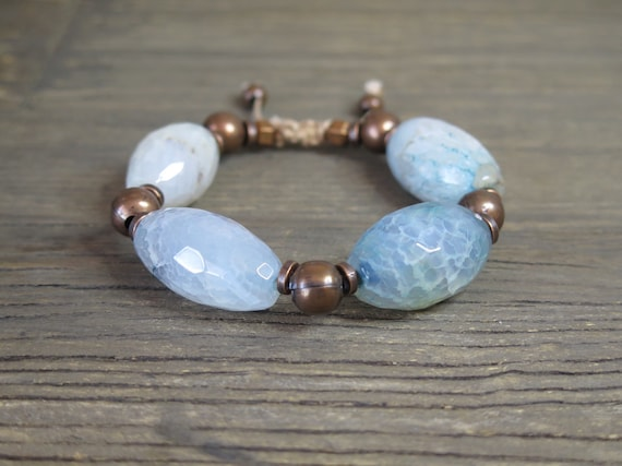 "7"" Large blue Agate Shambahla bracelet with copper findings"