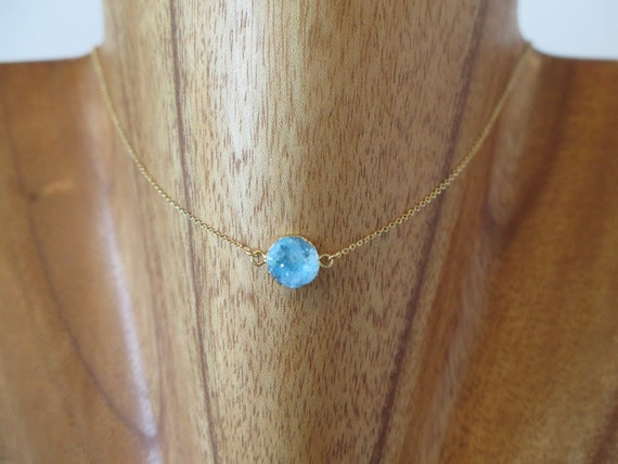 "The ""Blue"" 15"" 14k gold filled Druzy pendent necklace."