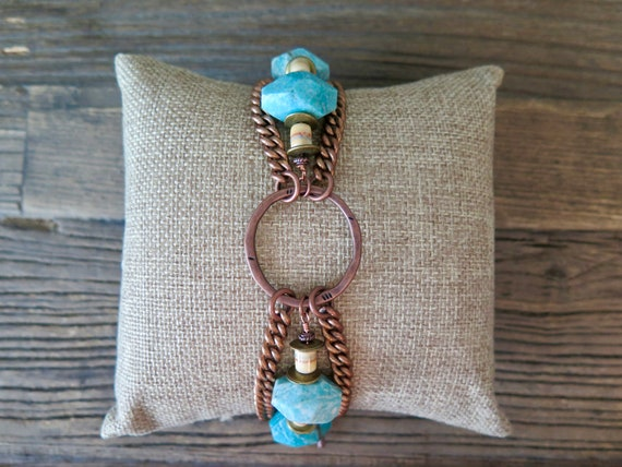 """Vintage inspired 8"""" oxidized brass bracelet accented with Turquoise and vintage clay beads"""