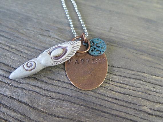 """Hand Stamped """"Warrior"""" Necklace"""